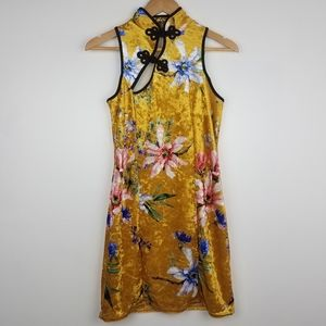 Nasty Gal | Yellow Floral Crushed Velvet Dress